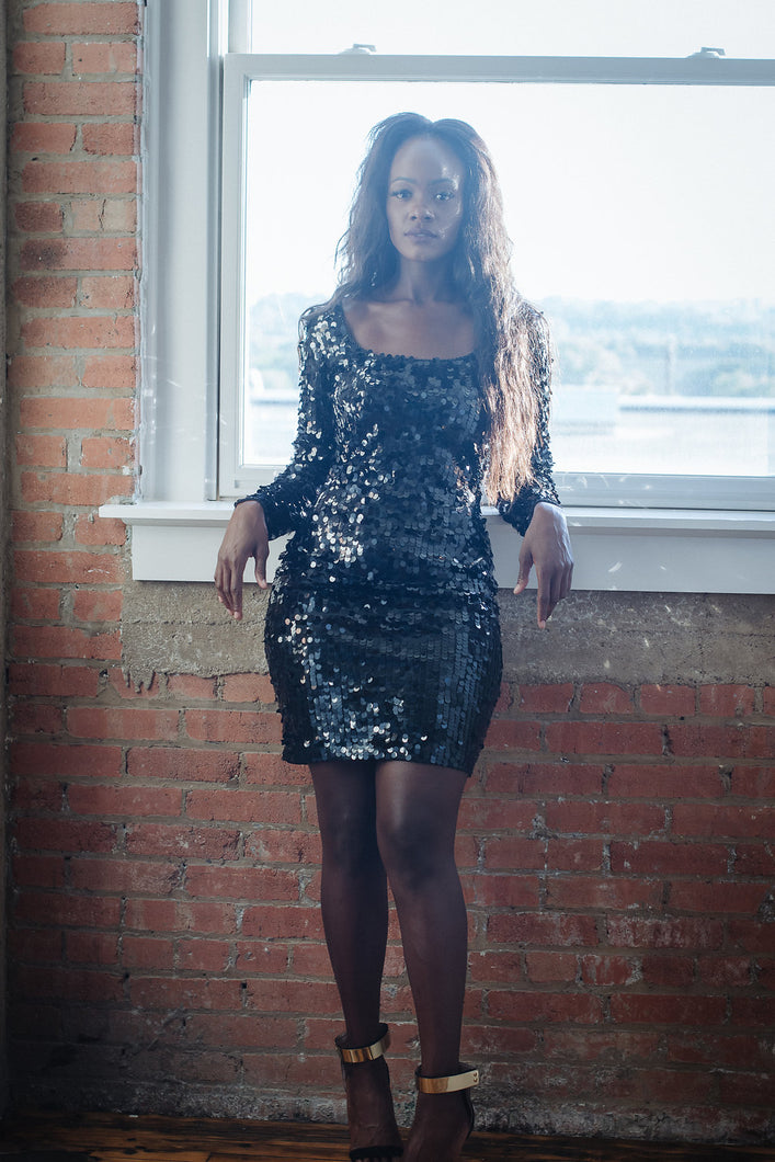Vintage Black Sequin Cocktail Dress