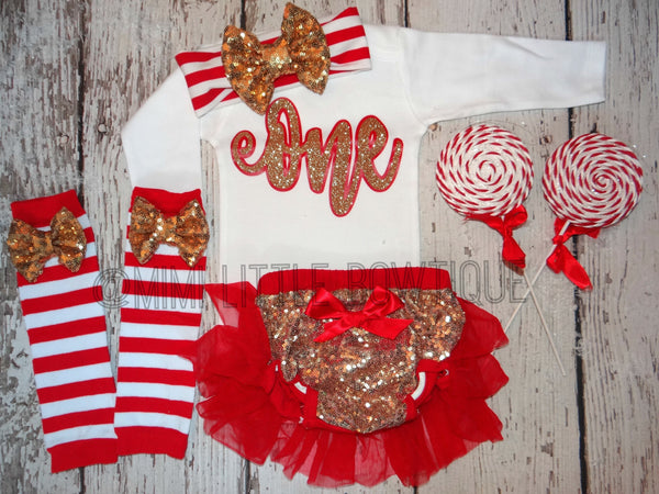 Girl Red And Gold First Birthday Outfit Red And Gold 1st Birthday 1st Birthday Outfit