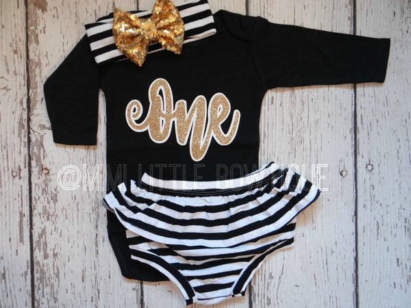 Black And Gold First Birthday Long Sleeve Outfit 1 St Birthday
