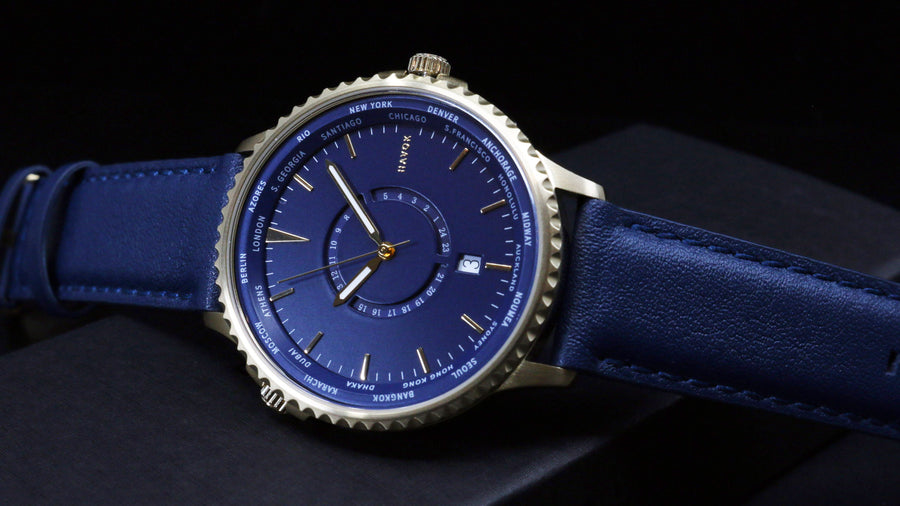 MIDNIGHT NAVY WORLD TRAVELLER - 42MM