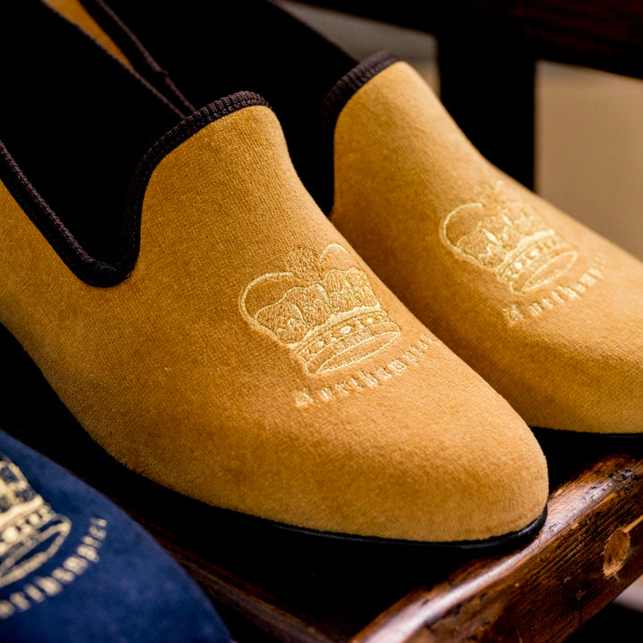 Gold Earl Velvet Slippers