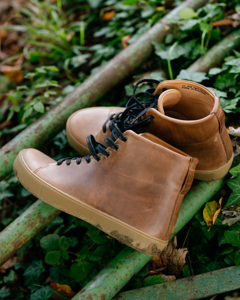 brown horween chromexcel sneakers boots