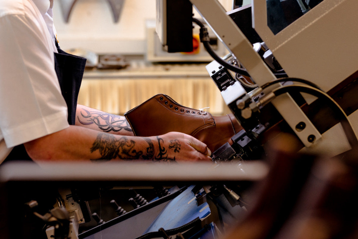 Shoemakers at work in Northampton factory