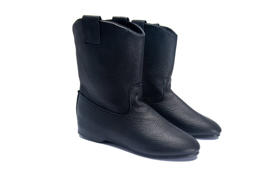 VICTORIA MID BOOT - BLACK LEATHER