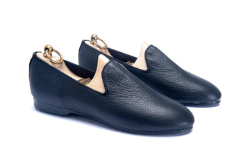 HERVEY SLIPPER - BLACK LEATHER