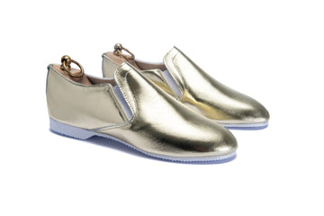HOOD ELASTICATED SLIPPER - METALLIC GOLD LEATHER