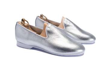 HERVEY SLIPPER - SILVER METALLIC LEATHER