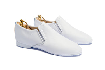 HOOD ELASTICATED SLIPPER - WHITE LEATHER