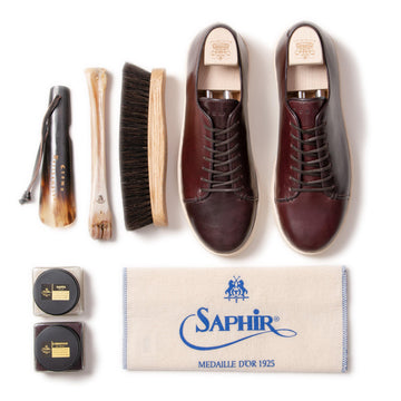 Harlestone Hand Stitch Derby - Horween No 8 Shell Cordovan - Deluxe Care Pack