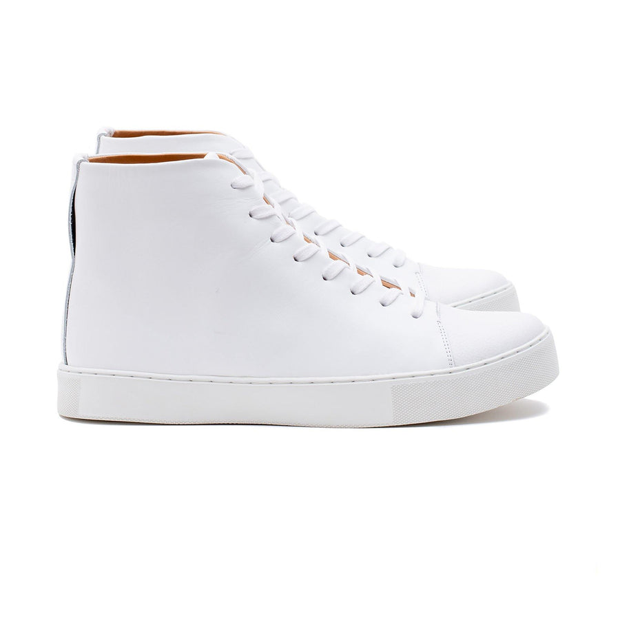 Abington Hi Toe Cap - All White Calf Leather