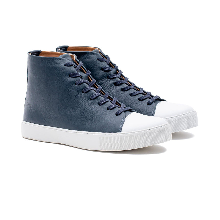 Abington Hi Toe Cap - Navy Calf Leather