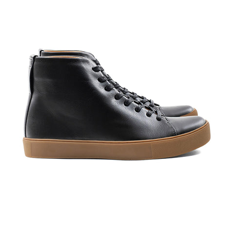 All black Leather Shoe sneaker with gum sole