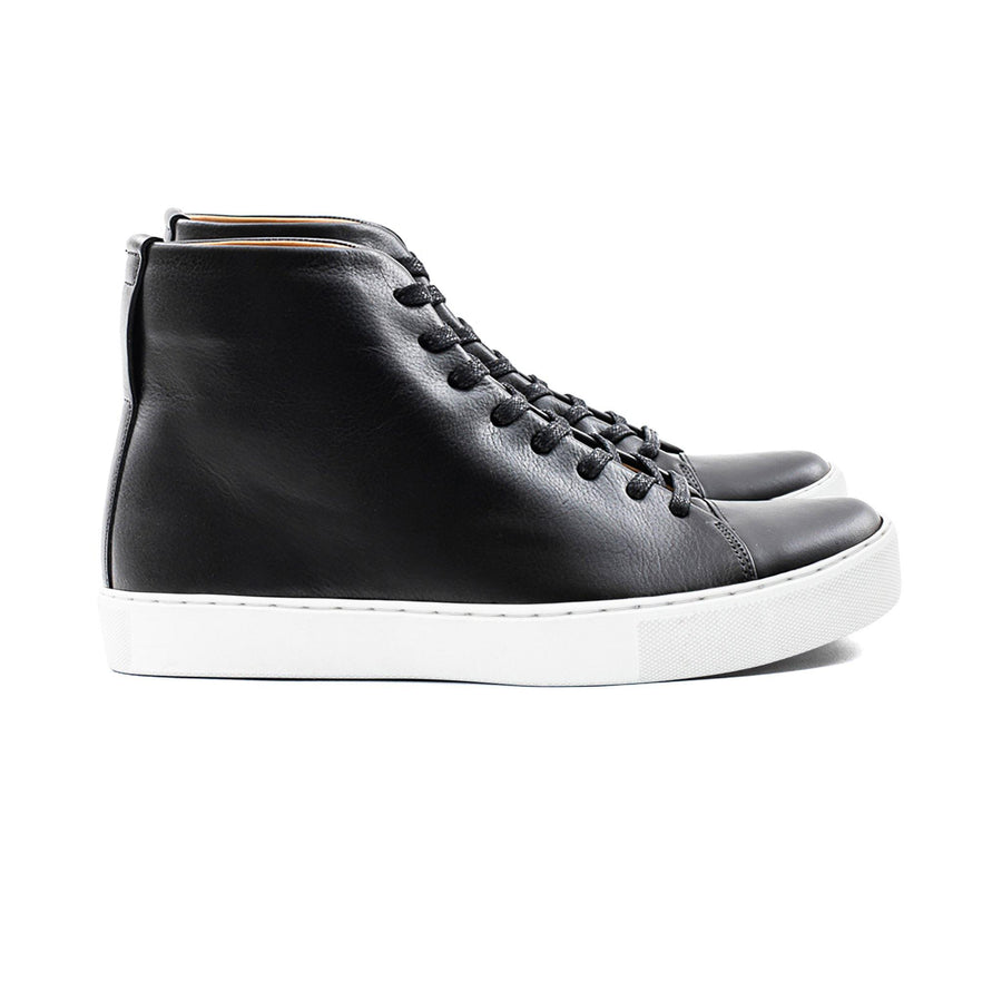 Crown Northampton Black leather high top sneaker with white sole