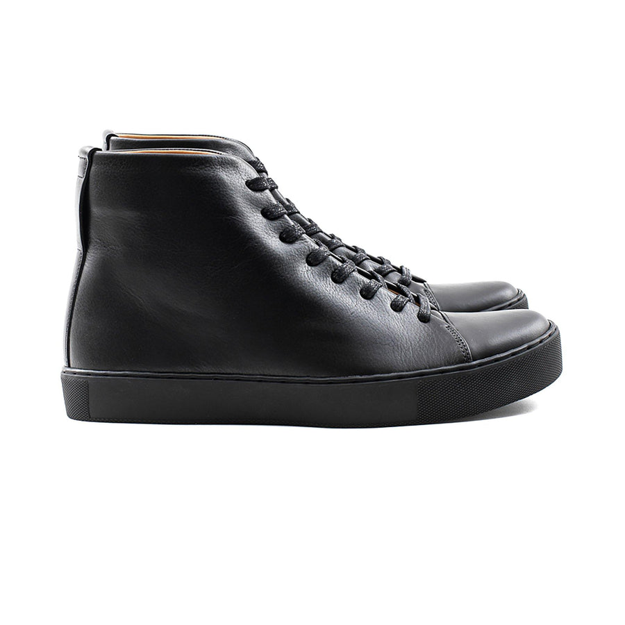 All black leather Shoe sneaker with black sole