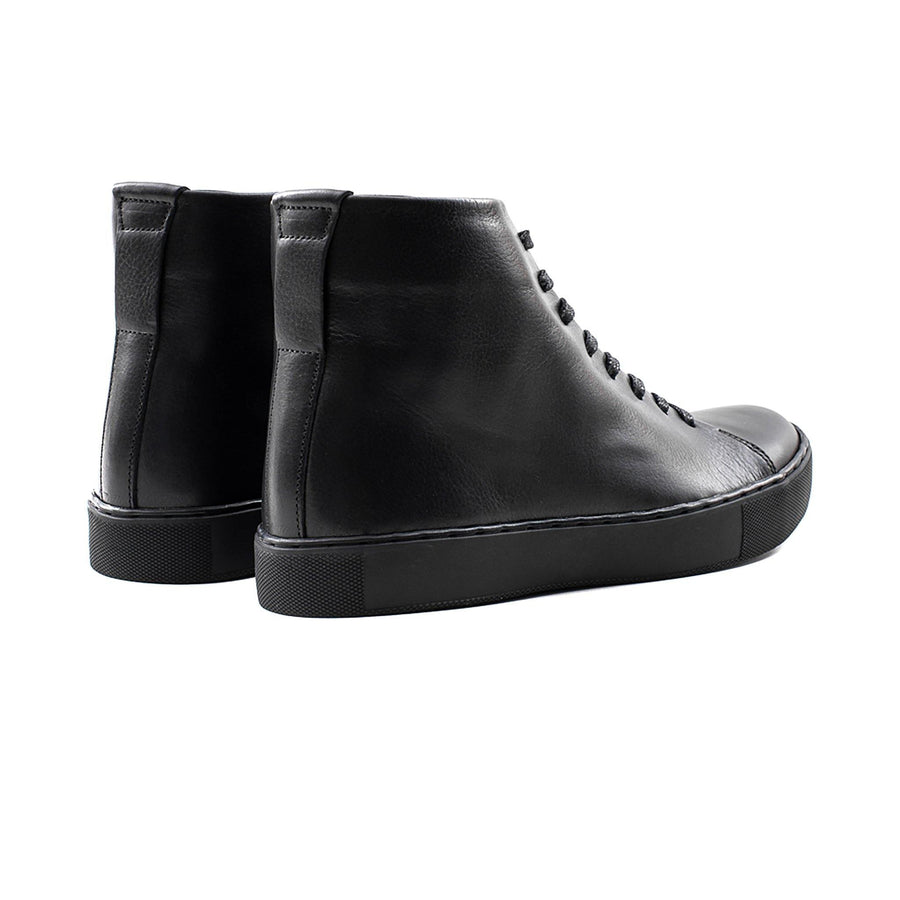 Crown Northampton - All black leather high top sneaker with black sole