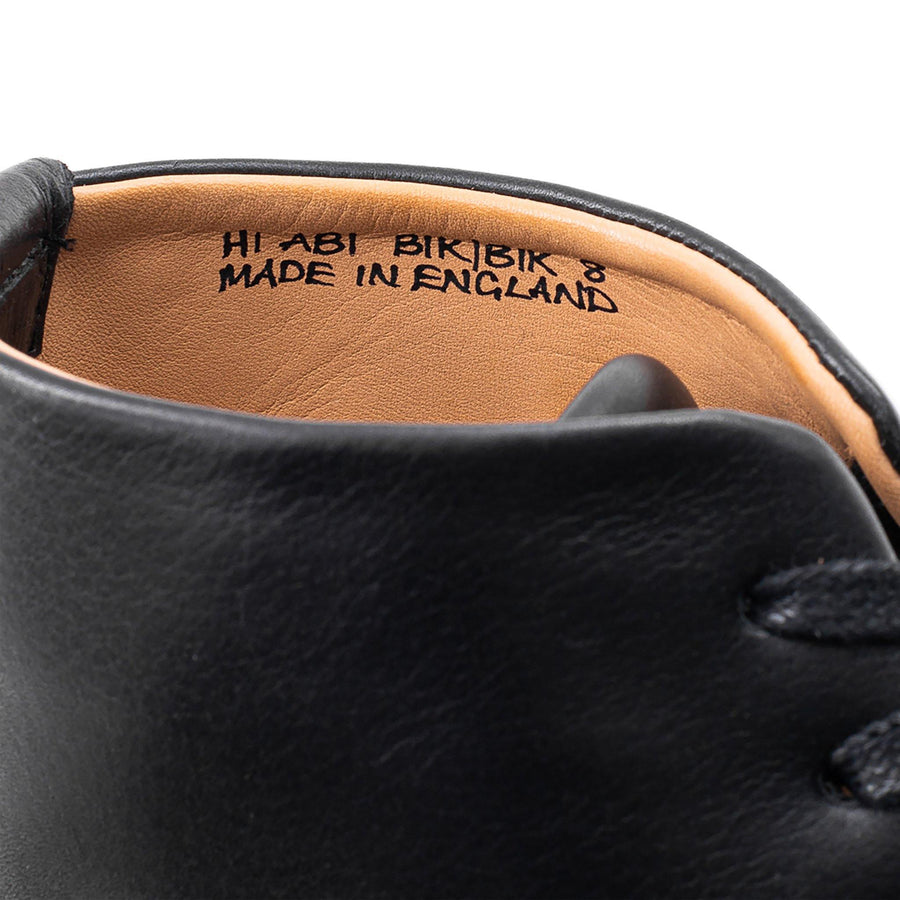 Black leather Crown Northampton shoe with Made in England inscribed