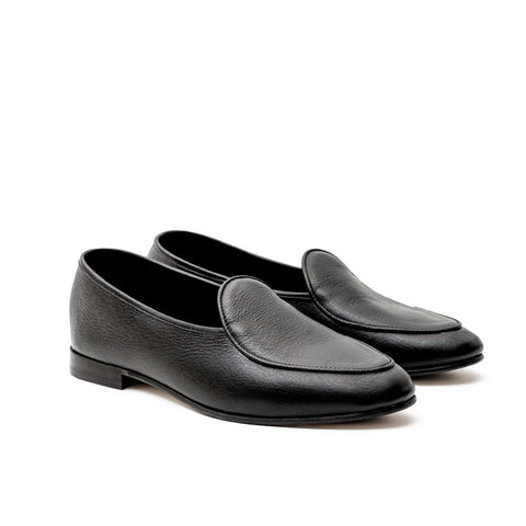 BROCKTON BELGIAN SLIPPER - BLACK KUDU LEATHER