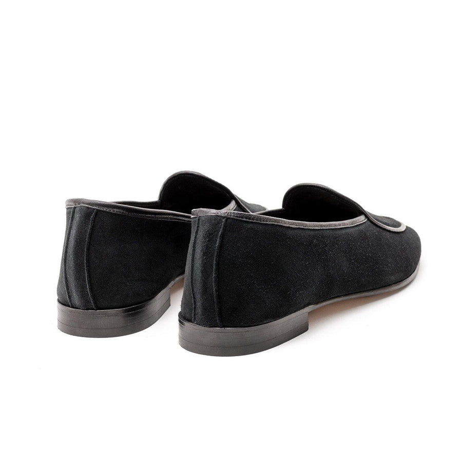 BROCKTON BELGIAN SLIPPER - BLACK KUDU SUEDE