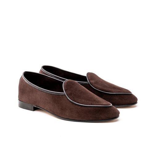 BROCKTON BELGIAN SLIPPER - BROWN KUDU SUEDE