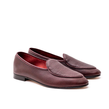 BROCKTON BELGIAN SLIPPER - MAROON SIGN KUDU LEATHER