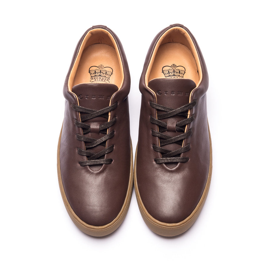 UPTON WHOLECUT SNEAKER - BROWN GUM LEATHER