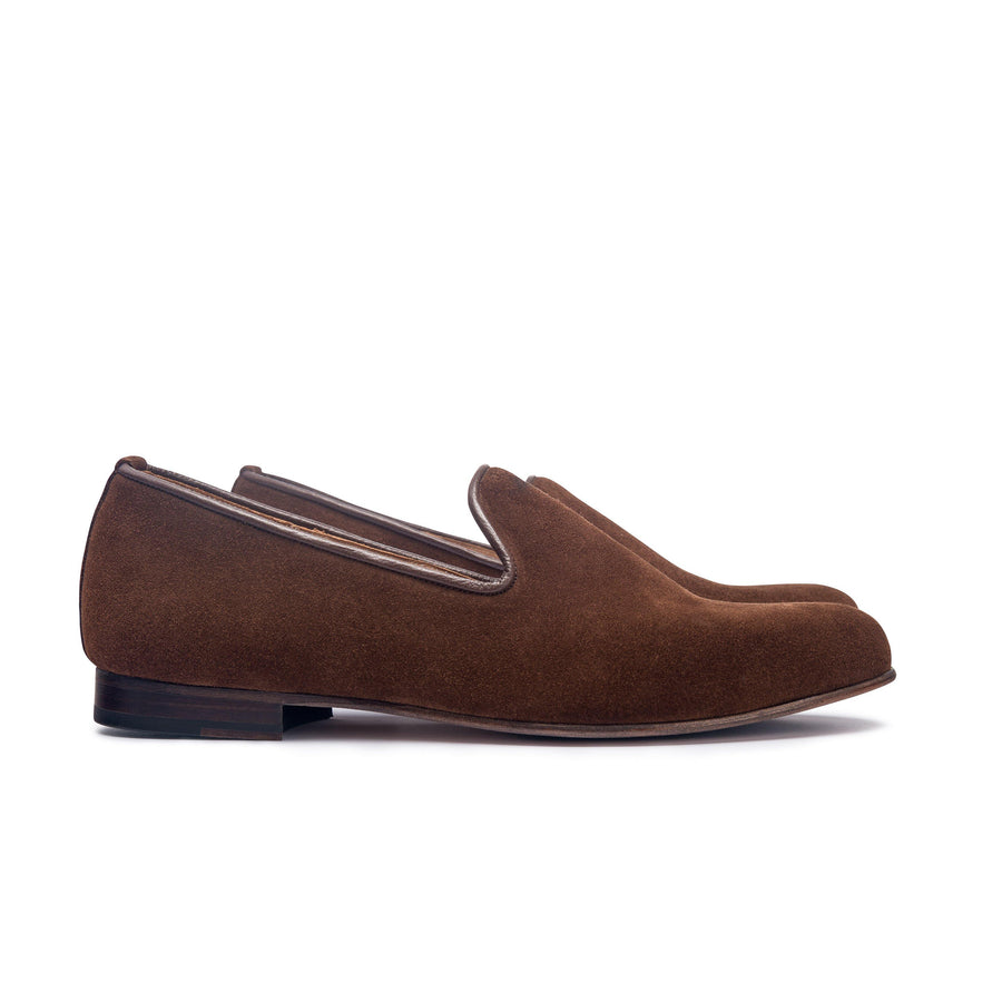 DUKE LEATHER SOLE SLIPPER - BROWN CALF SUEDE