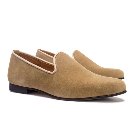 DUKE LEATHER SOLE SLIPPER - SAND CALF SUEDE