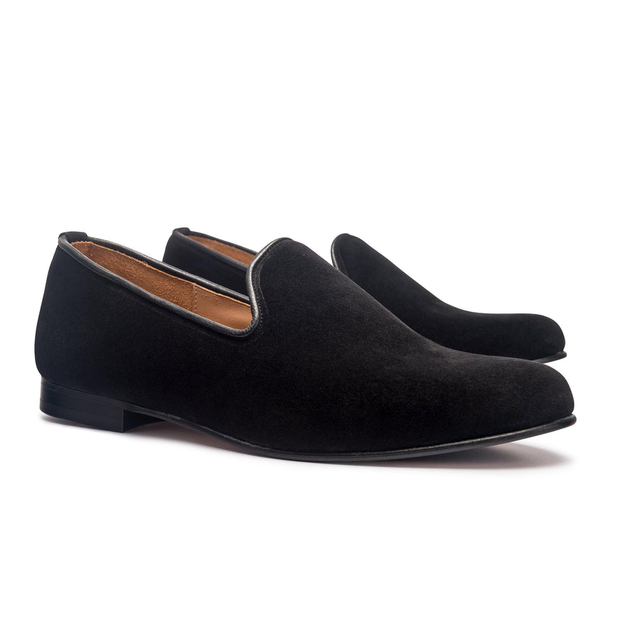 DUKE LEATHER SOLE SLIPPER - BLACK CALF SUEDE