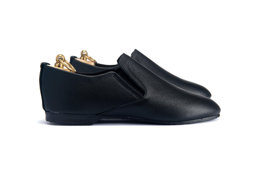 HOOD ELASTICATED SLIPPER - BLACK LEATHER