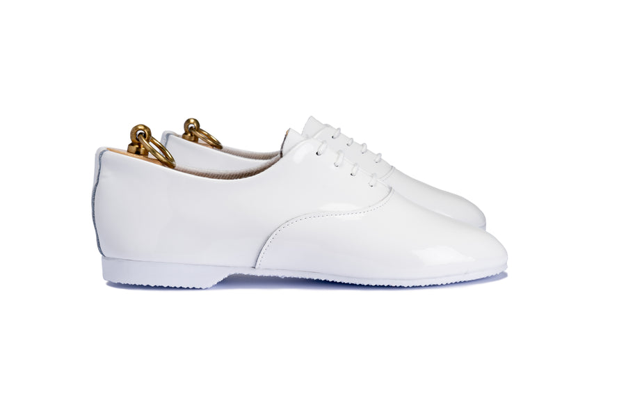 TALBOT OXFORD SHOE - WHITE PATENT LEATHER