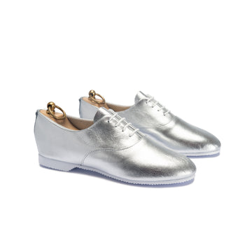 TALBOT OXFORD SHOE - METALLIC SILVER LEATHER