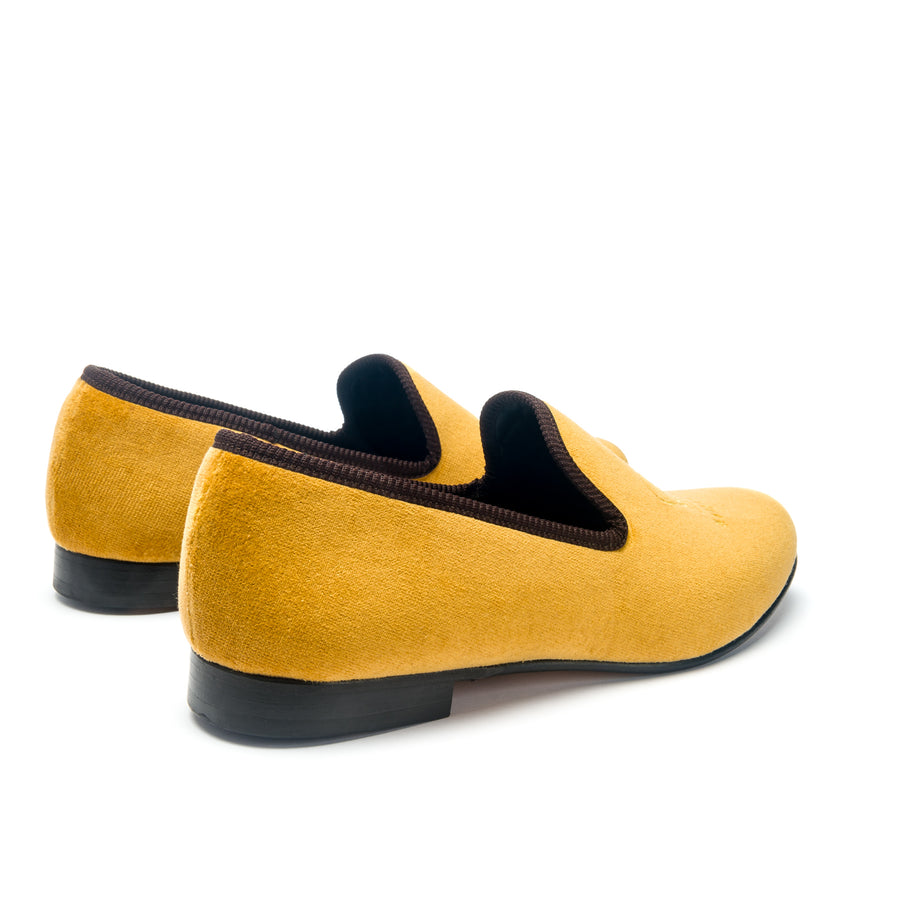 EARL CROWN AND CREST LEATHER SOLE SLIPPER - MUSTARD VELVET