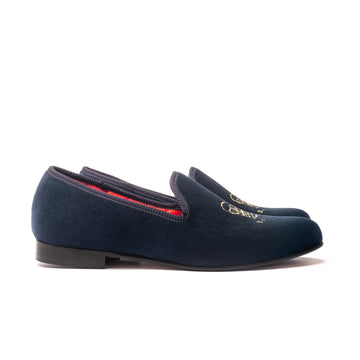 EARL CROWN AND CREST LEATHER SOLE SLIPPER - NAVY VELVET