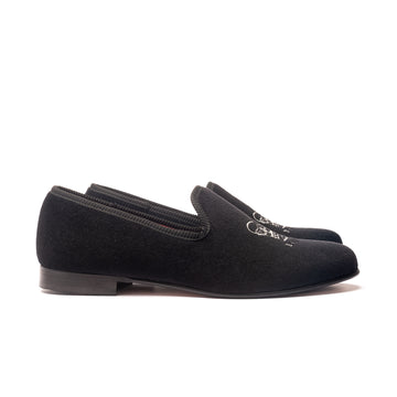 EARL CROWN AND CREST LEATHER SOLE SLIPPER - BLACK VELVET