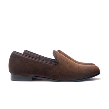 EARL LEATHER SOLE SLIPPER - CHOCOLATE BROWN VELVET