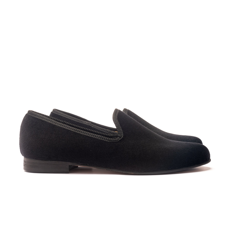 EARL LEATHER SOLE SLIPPER - BLACK VELVET