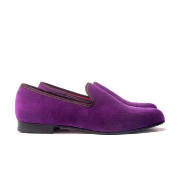 EARL LEATHER SOLE SLIPPER - PURPLE VELVET