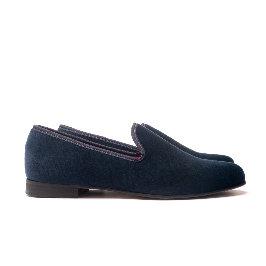 EARL LEATHER SOLE SLIPPER - NAVY VELVET