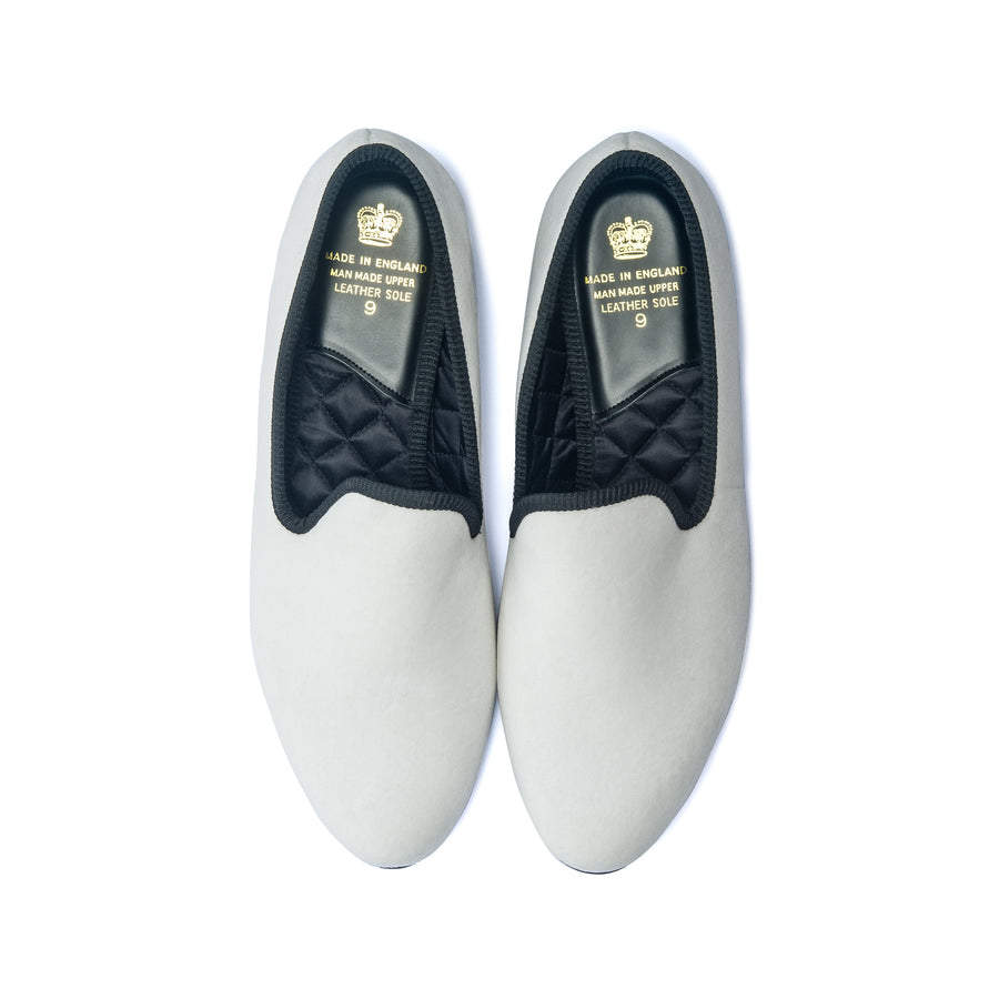 EARL LEATHER SOLE SLIPPER - WHITE VELVET