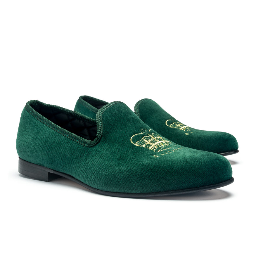 EARL CROWN AND CREST LEATHER SOLE SLIPPER - EMERALD VELVET