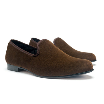EARL LEATHER SOLE SLIPPER - CHOCOLATE VELVET