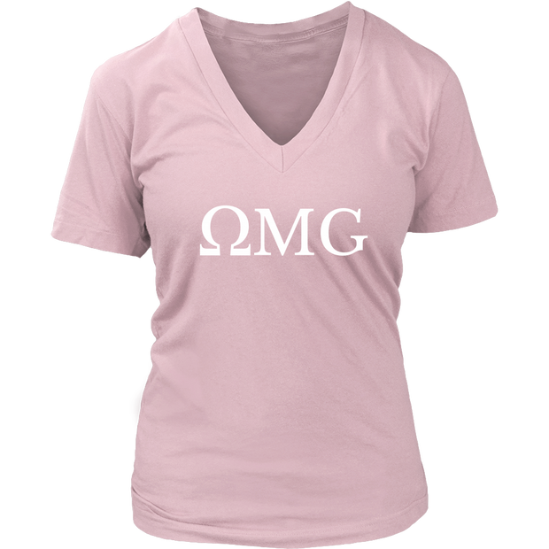 Women's Yoga OmMG (OMG) V-Neck Top, Workout Shirt, Fashion, Exercise, Fitness, Gym Cotton T-shir