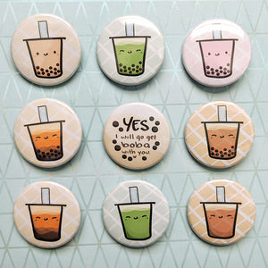 "Boba Time 1.5"" Pinback Buttons"