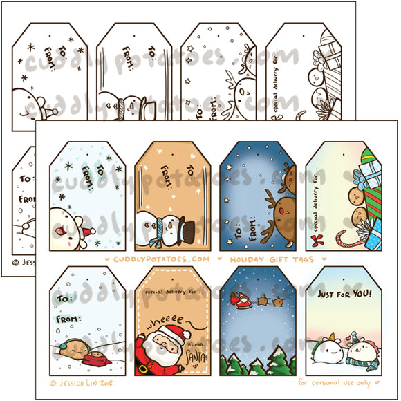 Holiday Potatoes Gift Tag Set - Digital Download