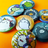 "Halloween Potatocorns 1.5"" Pinback Buttons"