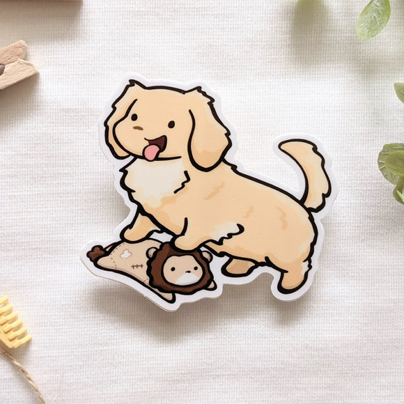 Leo the Golden Dachshund Vinyl Sticker