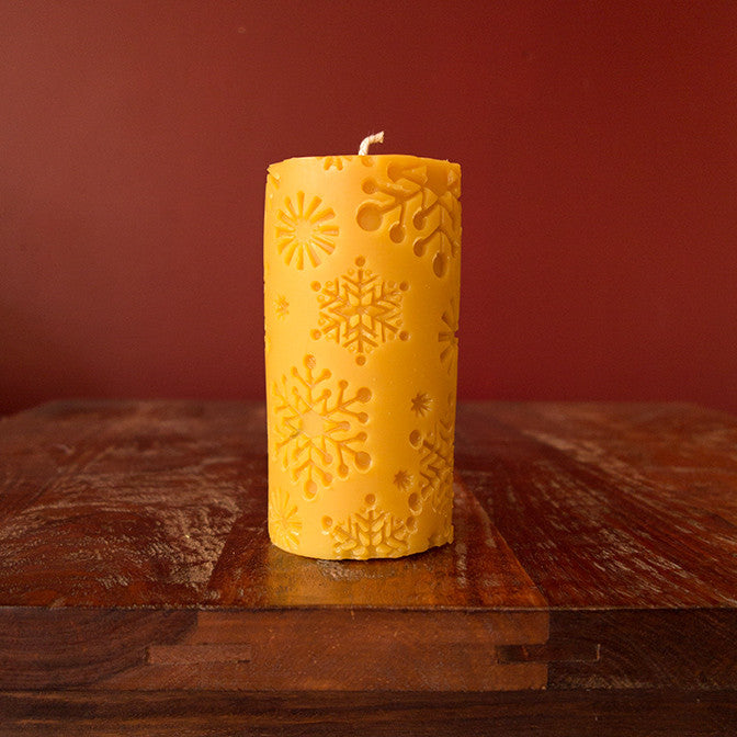 "Snowflake Pillar Candle - (3"" x 6"")"