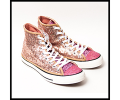 A fully customized pair of high tops for your wedding, complete with sparkly toes and satin ribbon laces.