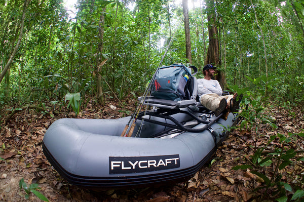 Extreme Freshwater Fishing In Inflatable Raft In The Jungle