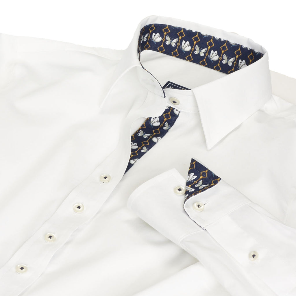 Essex Classics Dora White Butterfly Tailored Shirt